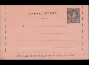 Monaco Kartenbrief K 3 schwarz, waagerecht durchgezähnt 1888, ungebraucht **
