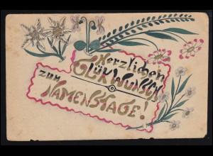 Handgemalte Feldpostkarte: Glückwunschkarte zum Namenstag, 8.3.18