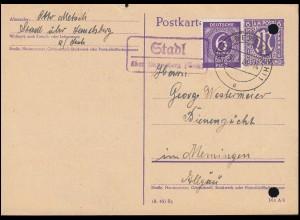 Landpost Stadl über LANDSBERG (LECH) 30.5.46 auf Postkarte P 903 mit Zusatzfr.