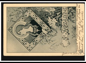 Ansichtskarte Vornamen: Suzanna, Frauenbild mit Heiligenschein, LA TRONCHE 1903
