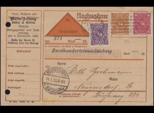 Posthorn-Mischfrankatur NN-Karte Maler-Zeitung LEIPZIG 13.1.23 nach Neugersdorf