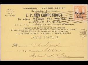 Zensur Belgien 13 Germania mit Aufdruck EF auf Postkarte BRÜSSEL 15.6.17