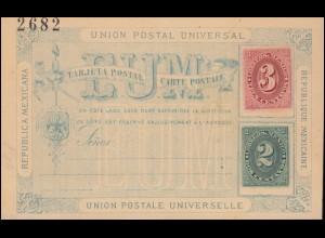 Mexiko Postkarte Ziffer 3 Cent. rot und 2 Cent. grün 1882, ungebraucht **