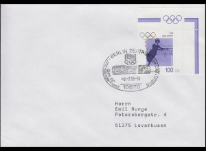 1863 Olympiasieger Annie Hübler-Horn, Brief SSt Berlin Olympia-Express 9.7.1996