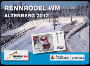Sporthilfe: Rennrodel WM Altenberg 2012 Markenheftchen selbstklebend **