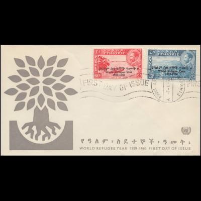 Äthiopien: 389-390 Weltflüchtlingsjahr 1959-1960 auf Schmuck-FDC 7.4.1960