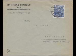Österreich 581 Volkstrachten 60 G. Brautpaar EF Bf. WIEN 23.11.36 nach Amsterdam