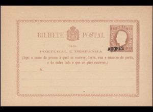 Portugal Postkarte P 1I - schwarzer Zudruck Acores / Azoren 1878, ungebraucht **