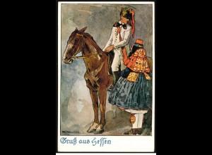 AK Gruss aus Hessen: Reiter mit Frau in Tracht, SSt BAD WILDUNGEN 6.6.1924
