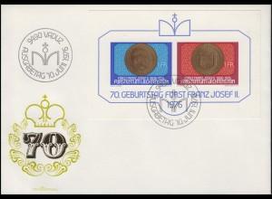 Block 10 Geburtstag Fürst Franz Josef II. von Liechtenstein auf Schmuck-FDC 1976