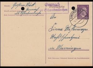 Landpost Gennach über SCHWABMÜNCHEN 6.5.1944 auf Postkarte P 299I