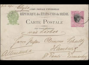 Brasilien Postkarte 100 Reis, Bahia 15.12.1899 mit Schiff S/S CLYDE nach Hamburg