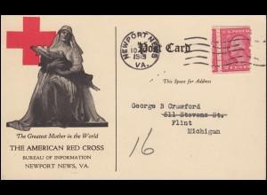 Rotes Kreuz Postkarte THE AMERICAN RED CROSS, NEWPORT NEWS 10.6.1919