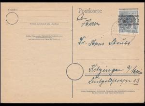 40I Bandaufdruck 12 Pf.als EF auf Postkarte MÜNCHEN 26.7.1948 nach Kitzingen