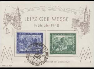 967-968 Leipziger Frühjahrsmesse 1948 auf Stempelkarte mit ESSt Leipzig 2.3.1948