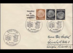 ZD aus EG-Streifen W 75 mit K 4 als 4er-Streifen Brief SSt STETTIN Boxen 1940