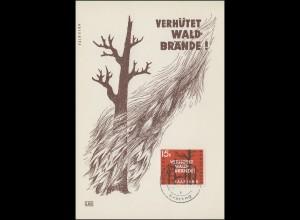 431 Waldbrandverhütung 1958 auf Maximumkarte Ersttagsstempel SAARBRCÜKEN 5.3.58
