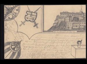 Zensur Belgien Militär. Überwachungsstelle Lüttich Postkarte P 1, LIEGE 2.5.16