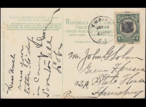 Panamakanalzone 17 Aufdruckmarke auf AK Kokusnuss-Ernte CAMP EMPIRE 14.1.1913