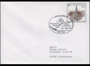 1965 Nördlingen & Stadtansicht, EF FDC ESSt 1000 Jahre Nördlingen 22.1.1998