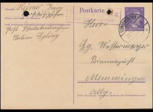 Landpost Großkitzinghofen über SCHWABMÜNCHEN 23.3.43 auf Postkarte P 299I