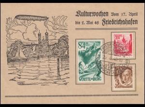 Württemberg Erinnerungskarte Kulturwochen SSt FRIEDRICHSHAFEN 25.4.1948