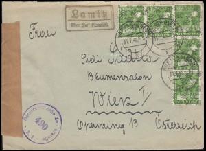Zensur Landpost Lamitz über Hof (Saale) MeF 5mal 39II Brief HOF SAALE 31.7.1948