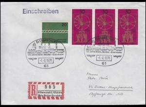 Sonder-R-Zettel 125 Jahre Main-Neckar-Eisenbahn, MiF R-Bf SSt Darmstadt 1.8.1971