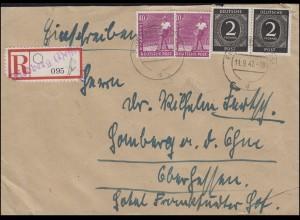 912+929 Gemeinschaft MiF Not-R-Zettel FRIEDBERG (HESSEN) 11.9.1947 nach Homberg