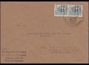 186 SBZ-Aufdruck senkrechtes Paar auf Brief SSt RADEBERG Exportbier 22.10.1948