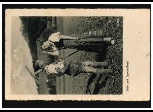 Foto-AK Zur Feldarbeit: Liebe und Sonnenschein, Sonderstempel 24.1.1939