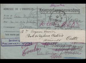 Kriegsgefangenensendung Geprüft ... Postüberwachungsstelle, geschrieben 1918