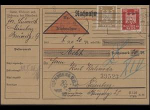355+357 Reichsadler 3+10 Pf. MiF auf Orts-NN-Karte NÜRNBERG 29.10.26