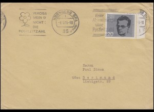 434 Attentat 20. Juli 1944 - Alfred Delp, EF Brief NÜRNBERG 6.3.65 nach Dortmund