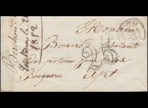Frankreich Vorphilatelie Briefhülle TOULOUSE 22.10.1852 mit Großer 25 nach Apt