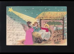 Jesu Kind in Krippe, Engel beten Tiere Heu Weihnachtsstern, Osnabrück 23.12.1904