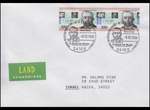 1889 Ferdinand von Mueller, MeF FDC ESSt Kiel Portrait 9.10.1996 nach Israel