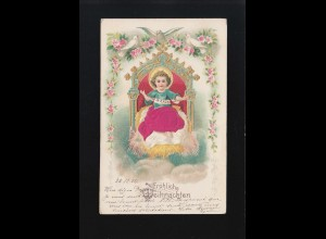 Fröhliche Weihnachten Christkind Thron Tauben Blumenkränze, gelaufen 25.12.1904