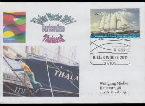 Kieler Woche 2011 Barkentine Thalassa Schmuck-Brief EF SSt KIEL 18.6.2011