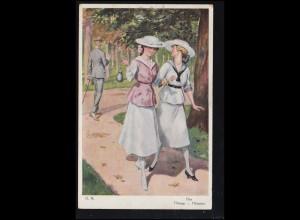 Künstler-Ansichtskarte Gemälde von G.N. Flirt Flirtage Flirtation, gelaufen 1922