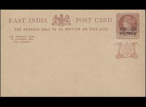 Ost-Indien Postkarte braun QUARTER ANNA mit Schwarzaufdruck GWALIOR, ungebraucht
