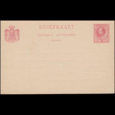 Surinam Antwort-Postkarte / Betaald Antwoord 2 1/2 Ct. rs. Zudruck, ungebraucht
