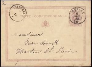Belgien Postkarte P 4 Ziffer 5 C. violett aus RENAIX 8.11.1873