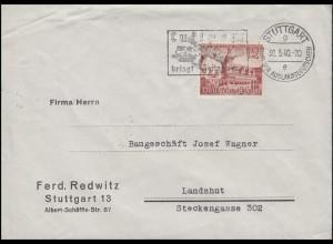 741 Leipziger Messe 12 Pf EF Brief STUTTGART Stadt der Auslandsdeutschen 30.5.40