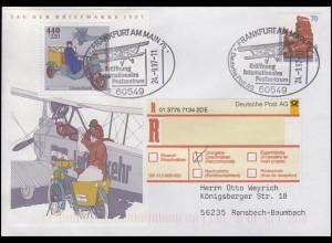 Block 41 Tag der Briefmarke, MiF R-Brief SSt Frankfurt/Main Flugzeug 24.9.1997