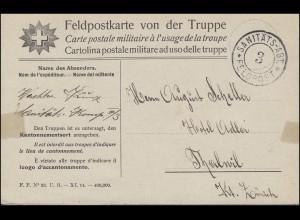 Schweiz Feldpostkarte von der Truppe SANITÄTS-ABT. 3 FELDPOST um 1914/1915