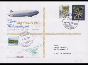 Luftschiffspost DKL 79 Zeppelin NT 4. Weihnachtspost SSt ENGELBURG 5.12.2001
