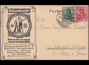 Propaganda-AK Rückkehr-Gedicht Rückwandererhilfe, BERLIN-GRUNEWALD 25.2.1920
