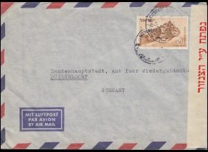 Israelische Zensur 1023 Luftpostbrief aus Israel 83 EF n. Düsseldorf, um 1954/55