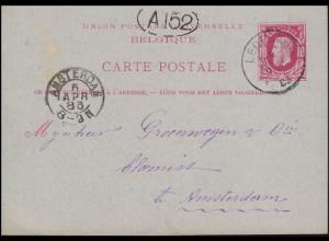 Belgien Postkarte P 15 König Leopold aus LEDEBERG 6.4.1883 nach AMSTERDAM 6.4.83